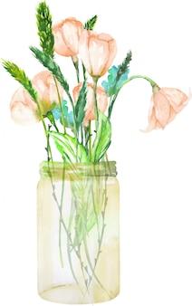 Buquê de flores silvestres rosa em uma jarra de vidro
