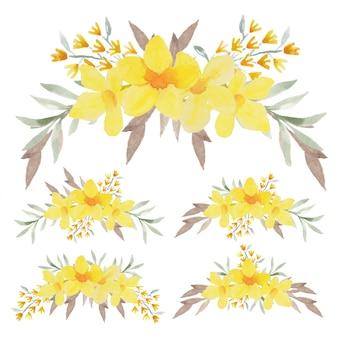 Buquê de flores tropicais amarelo pintado à mão
