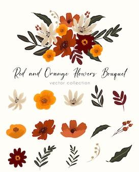 Buquê de flores vermelhas e laranjas