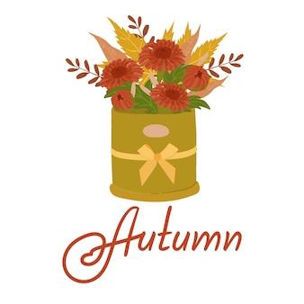 Buquê de folhas e flores de outono. ilustrações desenhadas à mão nas cores amarelo, laranja e marrom