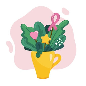 Buquê de folhas, grama e flores em xícara de chá amarela com fita rosa, coração e estrela em moderno. ilustração de cartão bonito para outubro mês de conscientização de câncer de mama. em branco