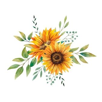 Buquê de girassóis em aquarela com folhas florais