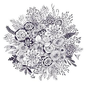 Buquê de linda fantasia com flores, plantas e ramos de mão desenhada. ilustração em vetor preto e branco.
