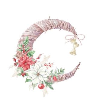 Buquê de natal em aquarela com flores de poinsétia