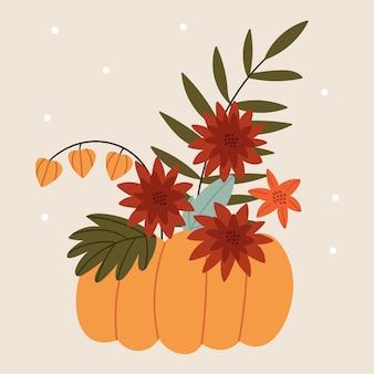Buquê de outono em uma abóbora arranjo de flores de outono de physalis e crisântemos humor de outono