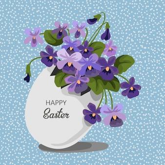 Buquê de páscoa de violeta lilás e ovo