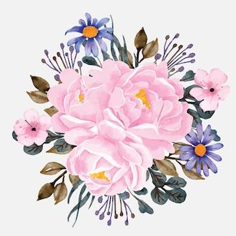Buquê de peônias com arranjo floral em aquarela