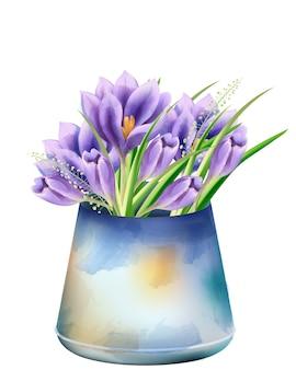 Buquê de primavera aquarela de flores da orquídea em um balde velho roxo