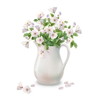 Buquê de primavera em jarro de cerâmica