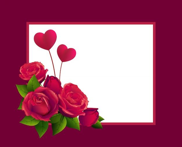 Buquê de rosa vermelha e forma de dois corações. modelo de cartão para dia dos namorados