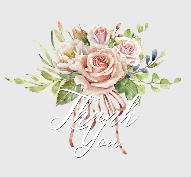 Buquê de rosas aquarela e cartão de agradecimento