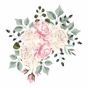Buquê de rosas, aquarela vector illustrasion
