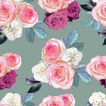 Buquê de rosas cor de rosa e begônia flor sem costura padrão
