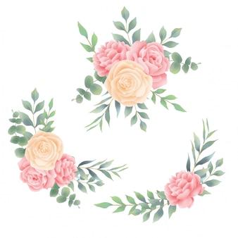 Buquê de rosas e folhas estilo aquarela