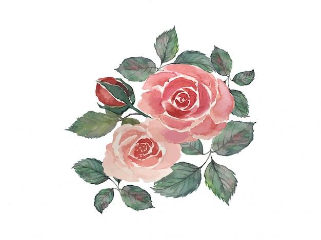 Buquê de rosas vermelhas com folhas verdes, pintura ilustração aquarela
