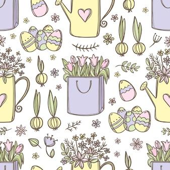 Buquê de tulipas com flores de primavera no regador e ovos de páscoa desenhados à mão padrão sem emenda