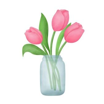 Buquê de tulipas desenhado à mão em aquarela