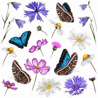 Buquê de verão. flores e borboletas do prado. ilustração vetorial.