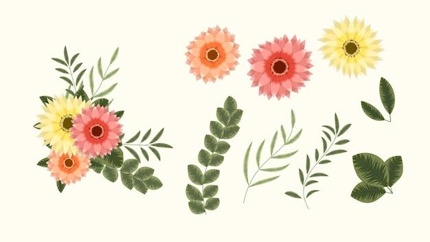 Buquê de vetor em cachos de flores arranjos de clip-art detalhados ou banners e cartões postais mídia social