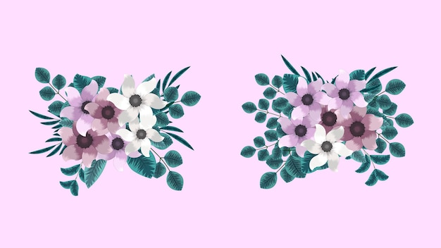 Buquê de vetores com flores da primavera com galhos de árvores como novos elementos de clipart detalhados
