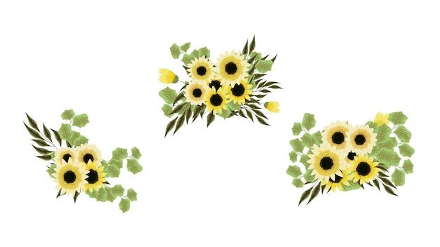 Buquê de vetores com girassóis, flores amarelas com galhos de árvores