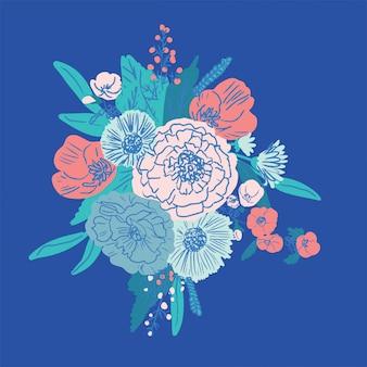 Buquê desenhado de mão floral