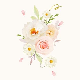 Buquê em aquarela de rosas cor de rosa e peônia branca