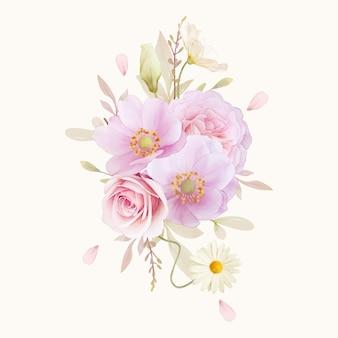 Buquê em aquarela de rosas e flores de anêmonas