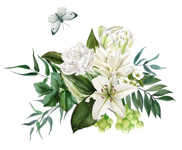 Buquê exuberante composto por flores brancas e folhagens