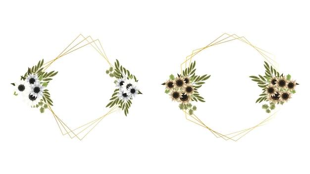 Buquê floral com moldura de flores vintage cartão de casamento social