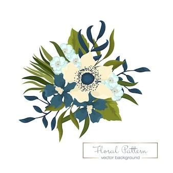 Buquê floral de flores folclóricas de fantasia desenhada à mão.