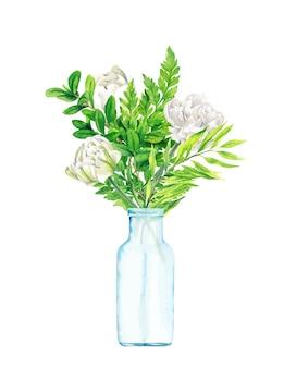 Buquê floral exuberante em vetor desenhado à mão de vaso