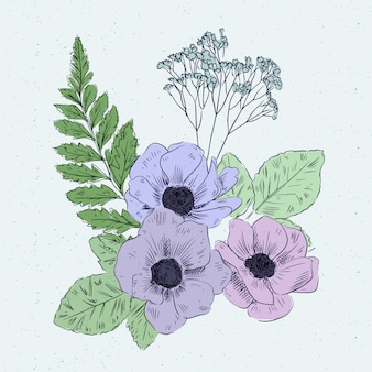 Buquê floral vintage colorido