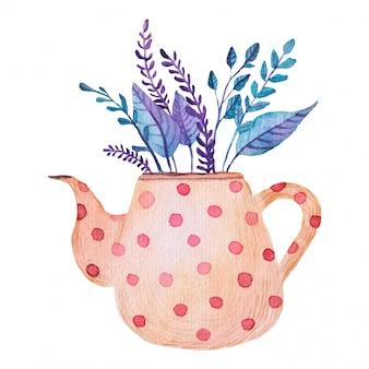 Buquê, flores, folhas em uma ilustração em aquarela de bule