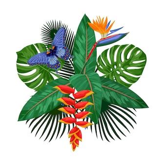 Buquê tropical com folhas de flores e borboletas. composição floral simulada para cartões postais