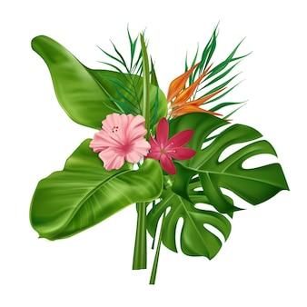 Buquê tropical de folhas verdes de palmeira e flores de hibisco