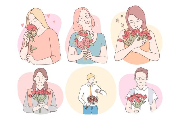 Buquês de flores como presentes para o conceito de mulheres. personagens de desenhos animados de mulheres felizes e sorridentes.