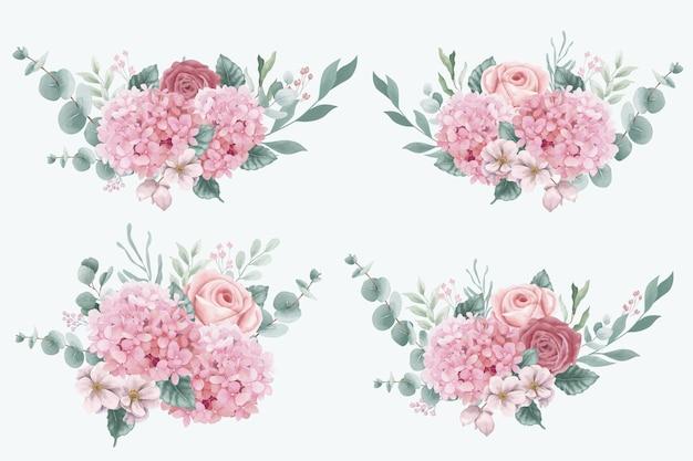 Buquês de flores de hortênsia e rosas em aquarela