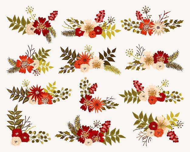 Buquês de flores de natal e inverno