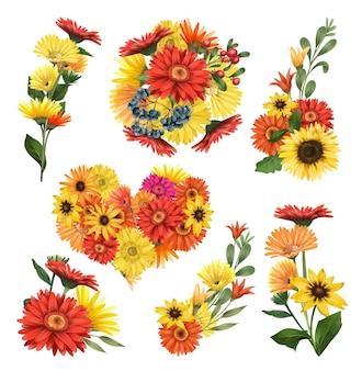 Buquês de flores de outono com ásteres e flores gérberas
