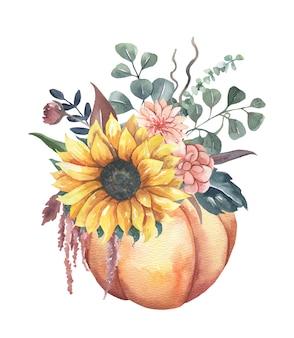 Buquês de flores em aquarela de girassol com abóboras.