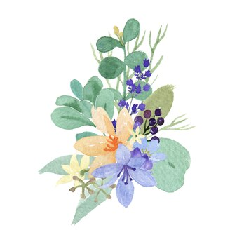 Buquês de flores em aquarela