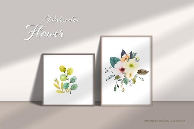 Buquês de flores em um porta-retrato pendurado na parede