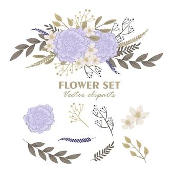 Buquês de flores fofos, conjunto de flores de clipart