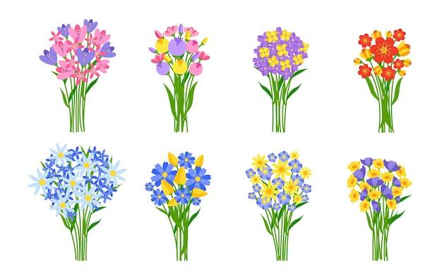Buquês de flores frescas com cachos coloridos de primavera em tulipas de flores silvestres ou margaridas estilo cartoon plana