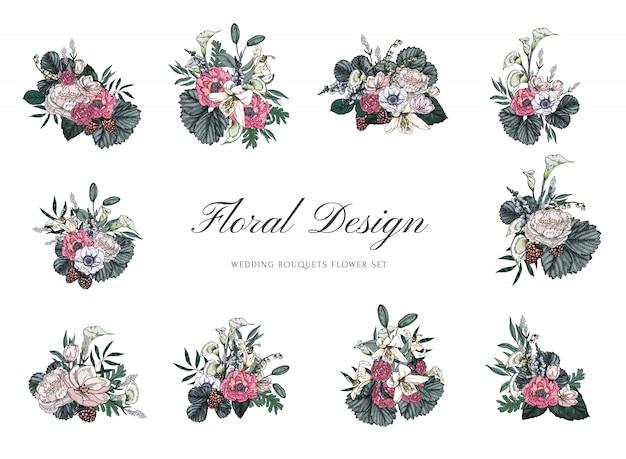 Buquês de flores vintage para design de casamento e convite
