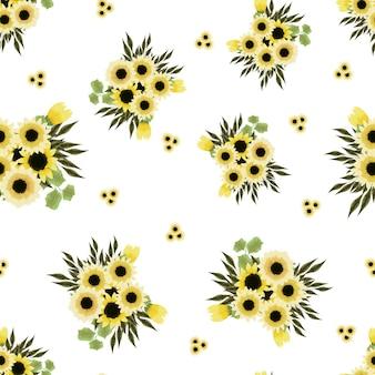 Buquês de padrão de vetor sem costura arranjos de flores coloridas de primavera