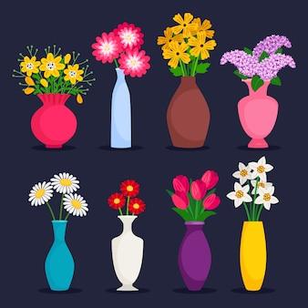 Buquês de primavera e verão na coleção de vasos