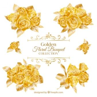 Buquês de rosas de ouro