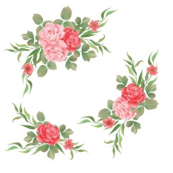Buquês de rosas em estilo aquarela